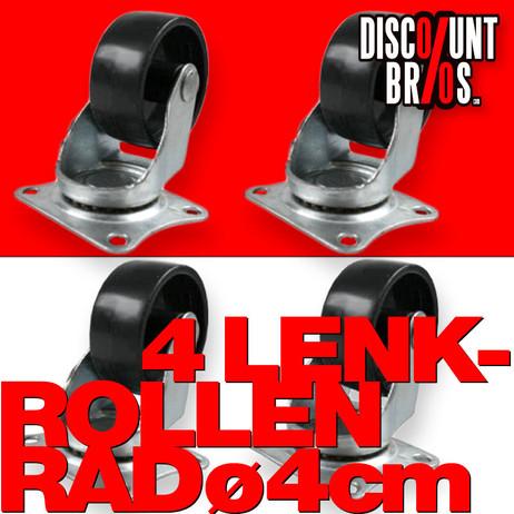 MINI LENKROLLEN 40mm ROLLEN RÄDER 4er set mit Anschraubplatten und Kunststoff-Rad – Bild 1