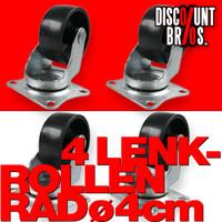 MINI LENKROLLEN 40mm ROLLEN RÄDER 4er set mit Anschraubplatten und Kunststoff-Rad