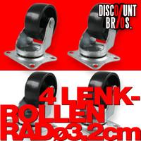 MINI LENKROLLEN 32mm ROLLE RAD 4er set mit Anschraubplatte und Kunststoff-Rad