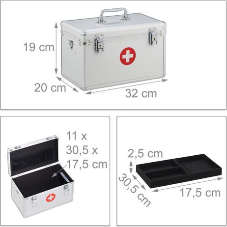 Medizinbox ERSTE HILFE KOFFER Arzneikasten Medizinkasten aus Aluminium – Bild 7