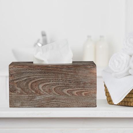 KOSMETIKTÜCHERBOX Tücherbox Tuchspender aus Paulowniaholz im Shabby-Style – Bild 4