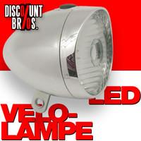 Retro-Design VELOLICHT mit LED Fahrrad Velolampe Scheinwerfer Fahrradscheinwerfer Frontscheinwerfer CHROM