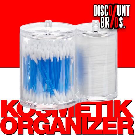 Doppel Acryl Organizer WATTESTÄBCHEN + WATTEPAD DISPENSER Box mit Deckel TRANSPARENT – Bild 1
