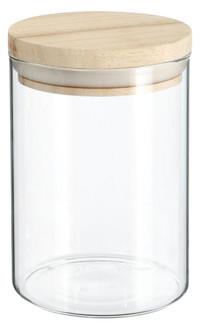 600ml VORRATSGLAS mit HOLZDECKEL Vorratsbehälter Aufbewahrungsglas transparentes Glas