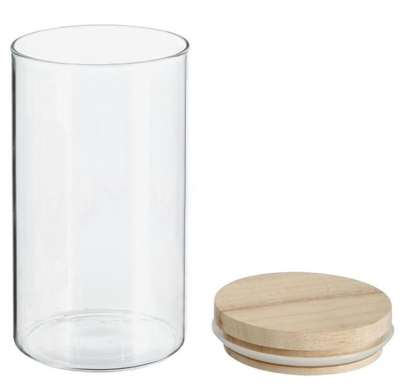 1 Liter VORRATSGLAS mit HOLZDECKEL Vorratsbehälter Aufbewahrungsglas transparentes Glas