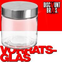 750ml VORRATSGLAS mit DECKEL Vorratsbehälter Aufbewahrungsglas transparentes Glas + Edelstahl 001