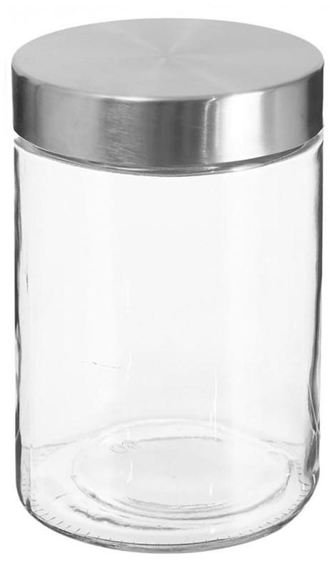 1,2 Liter VORRATSGLAS mit DECKEL Vorratsbehälter Aufbewahrungsglas transparentes Glas + Edelstahl – Bild 2