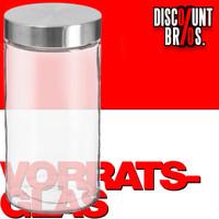 1,7 Liter VORRATSGLAS mit DECKEL Vorratsbehälter Aufbewahrungsglas transparentes Glas + Edelstahl 001