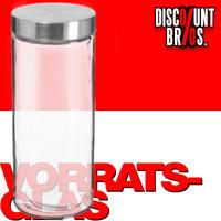 2 Liter VORRATSGLAS mit DECKEL Vorratsbehälter Aufbewahrungsglas transparentes Glas + Edelstahl 001