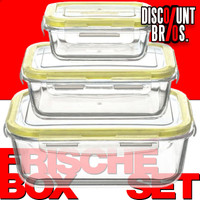 3er-Set 370ml + 640ml + 1050ml RECHTECKIGE Glas Frischhaltedosen PREMIUM VORRATSDOSEN Aufbewahrungsboxen Frische Box 001