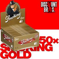 50 × SMOKING GOLD King Size SLIM Papers 33 Blatt Zigarettenpapier 108×44mm