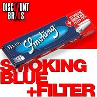 SMOKING BLUE King Size Papers Blau 33 Blatt Zigarettenpapier + Filter Tips 108×52mm 001