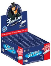 SMOKING BLUE King Size Papers Blau 33 Blatt Zigarettenpapier + Filter Tips 108×52mm