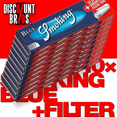 10 × SMOKING BLUE King Size Papers Blau 33 Blatt Zigarettenpapier + Filter Tips 108×52mm – Bild 1