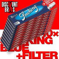 10 × SMOKING BLUE King Size Papers Blau 33 Blatt Zigarettenpapier + Filter Tips 108×52mm