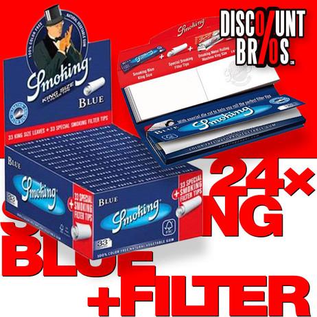 24 × SMOKING BLUE King Size Papers Blau 33 Blatt Zigarettenpapier + Filter Tips 108×52mm – Bild 1