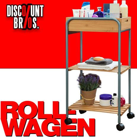 ETAGENWAGEN für Küche und Bad Haushaltswagen KÜCHENTROLLEY Rollwagen 3 Etagen BAMBUS 40×30×81cm – Bild 1
