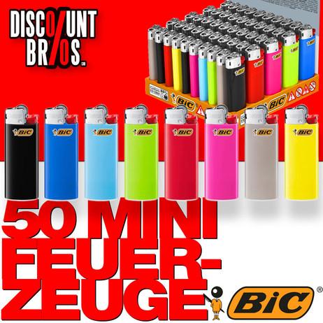 50 Stk. BIC® Einwegfeuerzeuge MINI FEUERZEUGE farbig – Bild 1
