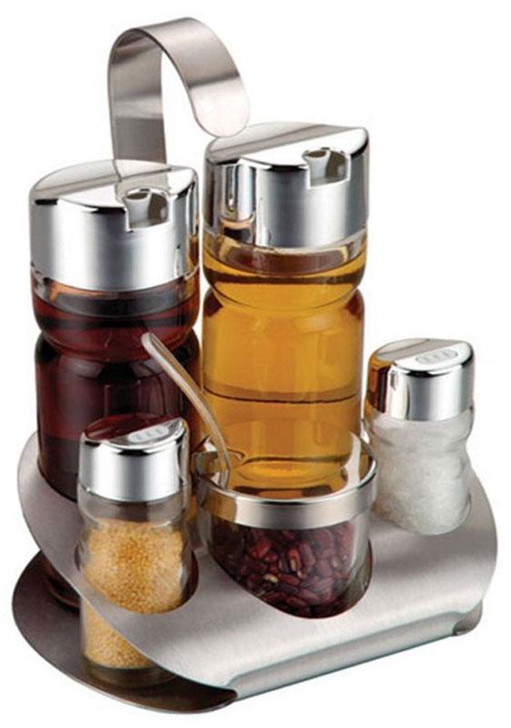 Klassische MENAGE aus Glas und Edelstahl für Salz, Pfeffer, Chili, Öl und Essig