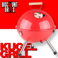 Tragbarer Holzkohle KUGELGRILL BBQ Koffergrill Grill ROT Ø32cm
