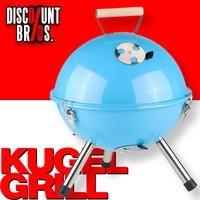 Tragbarer Holzkohle KUGELGRILL BBQ Koffergrill Grill HELLBLAU Ø32cm