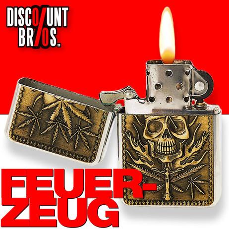 Champ® FEUERZEUG Benzinfeuerzeug Skull & Leaves – Bild 1
