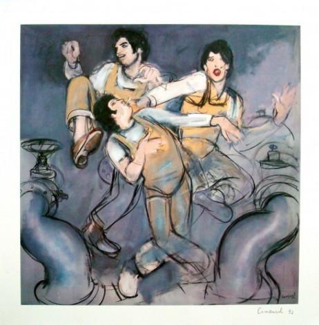 Arbeiter  Handsignierte Lithographie von Mario Comensoli