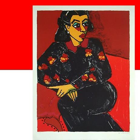 SONJA IM BLUMENKLEID Handsignierte original Lithographie von Gernot Kissel – Bild 1