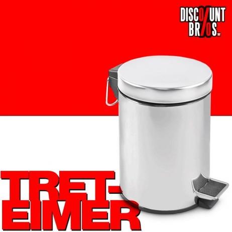 Klassischer TRETEIMER Kosmetikeimer Abfalleimer Chrom 3 Liter