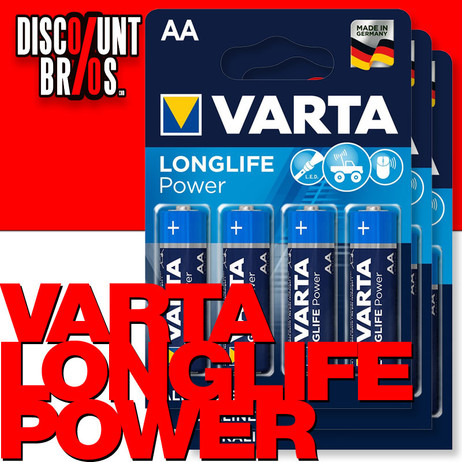 12 Stk. VARTA 4906 Longlife Power Batterien AA Mignon LR6 High Energy