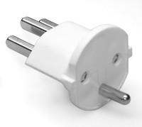 Permanent Fix-Adapter Stecker SCHUKO ( Typ F CEE 7 ) zu Schweiz ( Typ 23 T23 16A ) WEISS