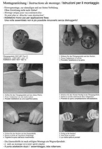 Permanent Fix-Adapter Stecker SCHUKO (Typ F CEE 7) zu Schweiz (T12) Fixadapter 3-polig teilisoliert – Bild 9