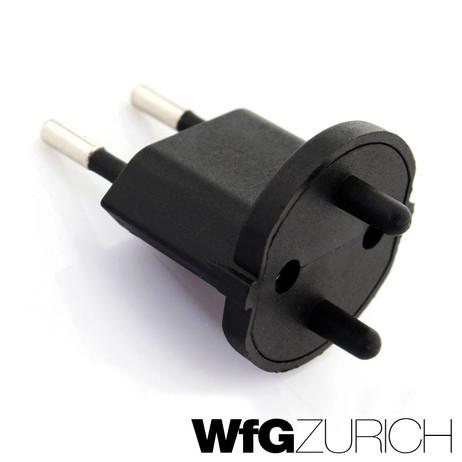 Permanent Fix-Adapter Stecker SCHUKO (Typ F CEE 7) zu Schweiz (T11) Fixadapter 2-polig teilisoliert – Bild 2
