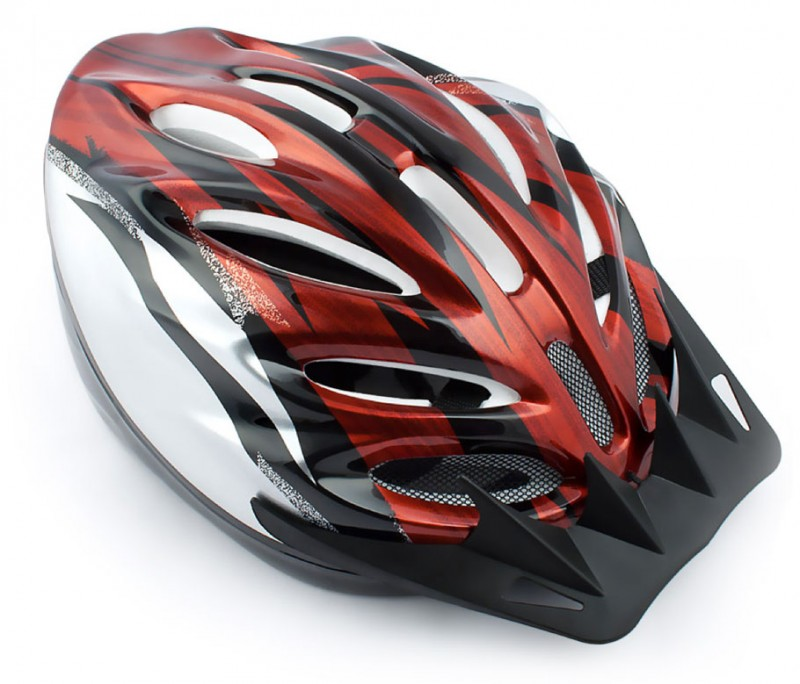 VELOHELM Helm Fahrradhelm rot-silber