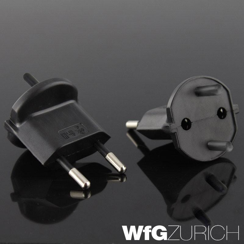 140 x Permanent Fix-Adapter Stecker SCHUKO (Typ F CEE 7) zu Schweiz (T11) 2-polig teilisoliert