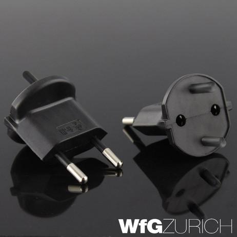 420 x Permanent Fix-Adapter Stecker SCHUKO (Typ F CEE 7) zu Schweiz (T11) Fixadapter 2-polig teilisoliert – Bild 3