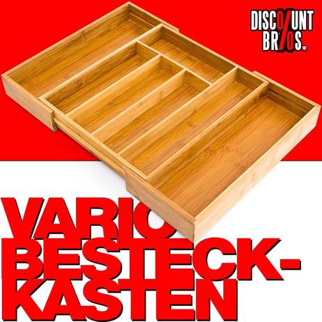 Vario BESTECKKASTEN Schubladeneinsatz aus Bambus Holz 34×29,5-45cm – Bild 1