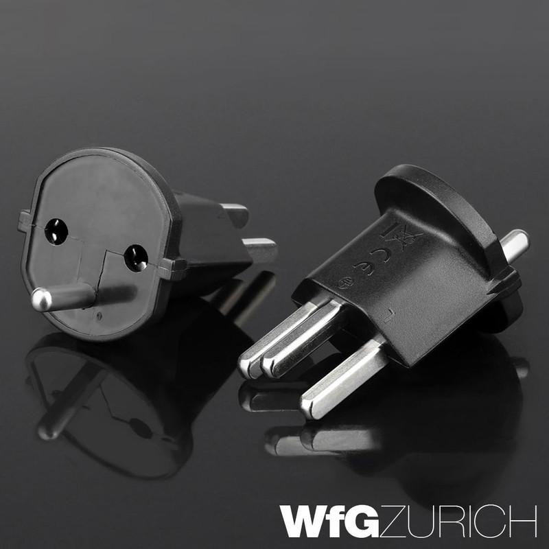 Permanent Fixadapter Fix-Adapter Stecker SCHUKO ( Typ F CEE 7 ) zu Schweiz ( Typ 23 T23 16A )