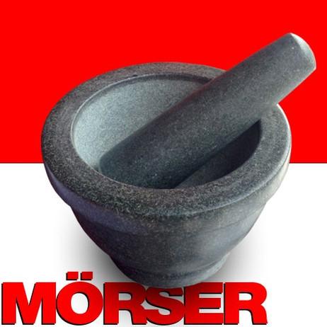 MÖRSER mit Stössel aus schwarzem Granit Stein Ø13cm