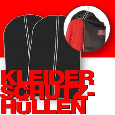 2 Stk. KLEIDERSCHUTZHÜLLEN Kleiderhülle Kleidersack schwarz 60×150cm
