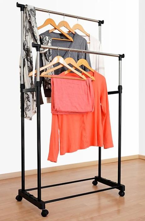 XXL GARDEROBENSTÄNDER Kleiderständer mit 2 Kleiderstangen auf Rollen – Bild 3