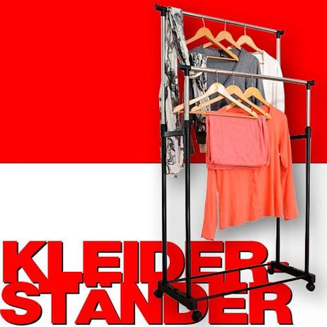 XXL GARDEROBENSTÄNDER Kleiderständer mit 2 Kleiderstangen auf Rollen – Bild 1