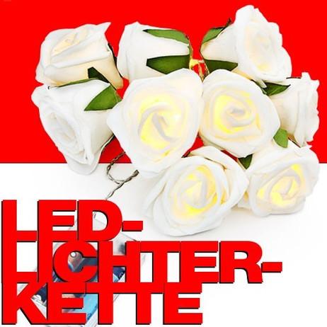 LED LICHTERKETTE mit 10 weissen Rosen – Bild 1