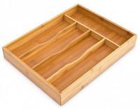BESTECKKASTEN Schubladeneinsatz aus Bambus Holz 33×25×4,5cm