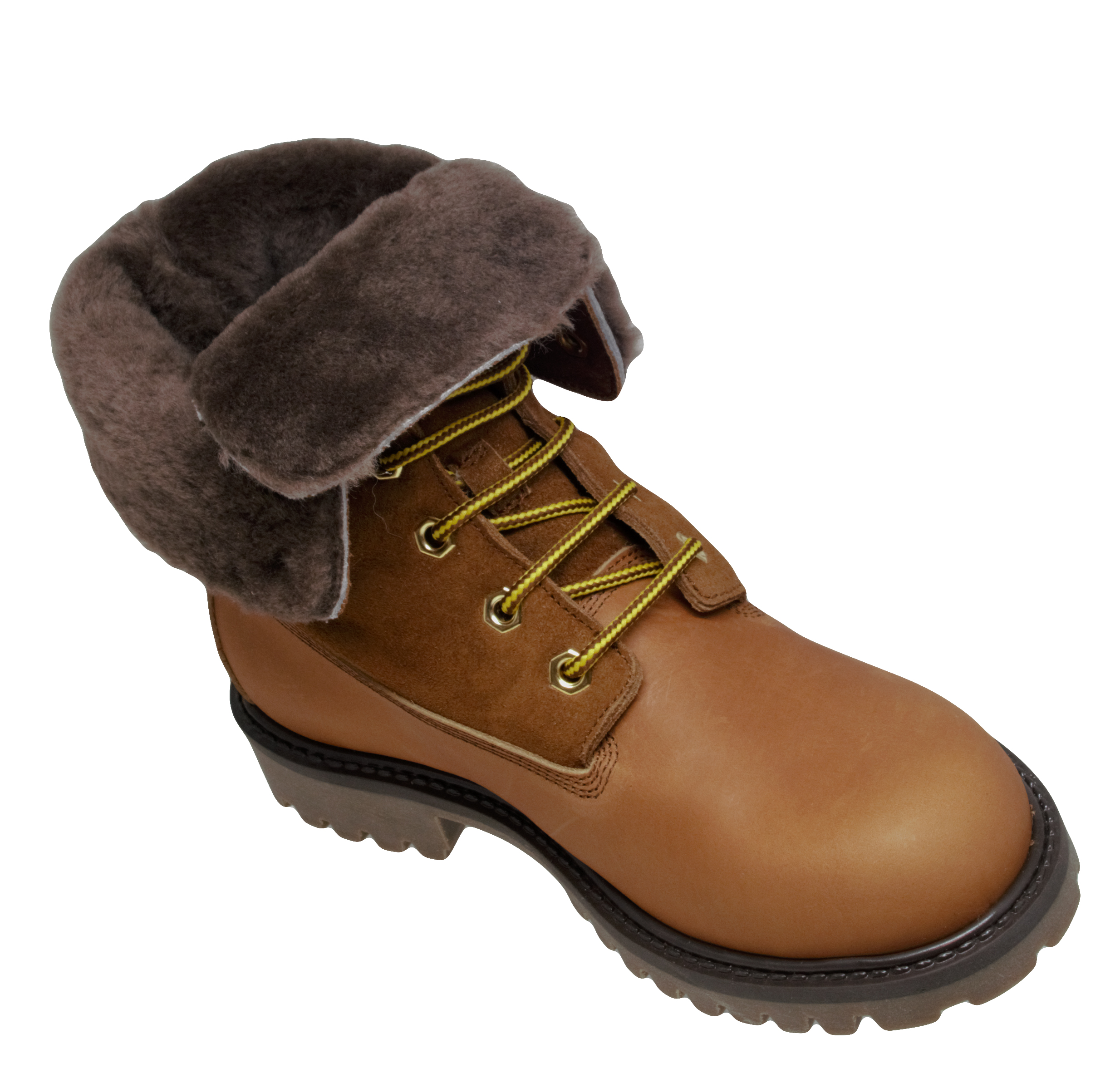 Gallucci 1077 Stiefel Schnürer Boots Leder Lammfell Braun Gr 34-41 Neu