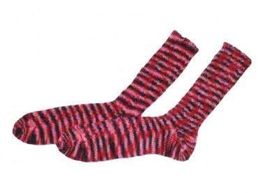 Handgestrickte Socken - rot/pink - Gr. 36-38