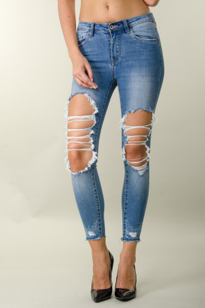 Damen Mega Jeanshose Cut Outs Denim Stretch Jeans Ripped Hose Jeans Skinny Hosen Pants Casual Streetwear Karottenhose – Bild 3