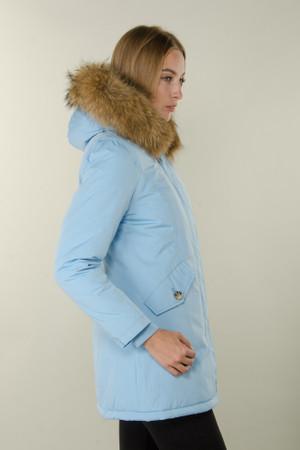 Damen Babyblau lange Echtfell Winterjacke Winter Parka Jacke mit Pelz Outdoor Echtpelz mit abnehmbarem Fell Daunenjacke Mantel  – Bild 7