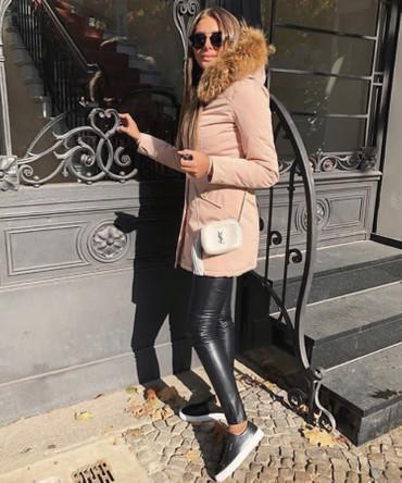 Damen Pink lange Echtfell Winterjacke Winter Parka Jacke mit Pelz Outdoor Echtpelz mit abnehmbarem Fell Daunenjacke Mantel  – Bild 2