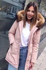 Damen Pink lange Echtfell Winterjacke Winter Parka Jacke mit Pelz Outdoor Echtpelz mit abnehmbarem Fell Daunenjacke Mantel  001
